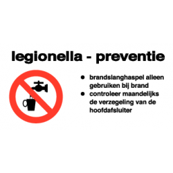 Legionella preventie sticker
